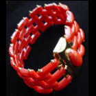red coral and 18k gold bracelet - cartier model